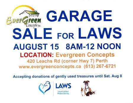 Evergreen Garage Sale - August 15, 2015.